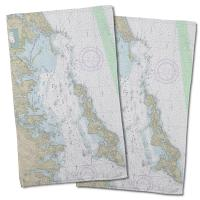 CT: Fishers Island Sound, CT Nautical Chart Hand Towel (Set of 2)