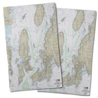 RI: Narragansett Bay, RI Nautical Chart Hand Towel (Set of 2)