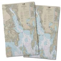 RI: Providence River, RI Nautical Chart Hand Towel (Set of 2)