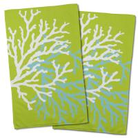 Coral Duo on Lime Hand Towel (Set of 2)