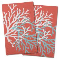 Coral Duo on Coral Hand Towel (Set of 2)