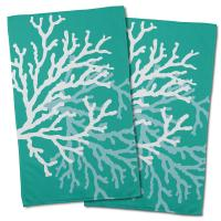 Coral Duo on Aqua Hand Towel (Set of 2)