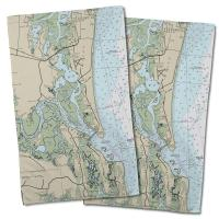 FL: Amelia Island, FL Nautical Chart Hand Towel (Set of 2)