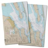 FL: Pensacola Bay, FL Nautical Chart Hand Towel (Set of 2)