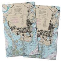 FL: St. Petersburg, FL Nautical Chart Hand Towel (Set of 2)