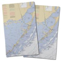 FL: Key Largo, FL Nautical Chart Hand Towel (Set of 2)