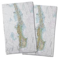 FL: Vaca Key Marathon, FL Nautical Chart Hand Towel (Set of 2)
