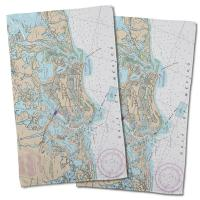 FL: Marco Island, FL Nautical Chart Hand Towel (Set of 2)