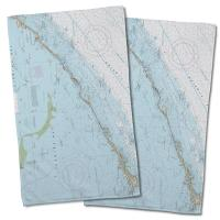 FL: Islamorada, FL Nautical Chart Hand Towel (Set of 2)