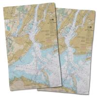 NY: New York Harbor, NY Nautical Chart Hand Towel (Set of 2)