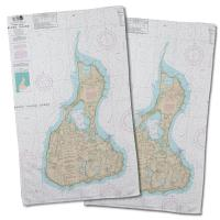 RI: Block Island, RI Nautical Chart Hand Towel (Set of 2)