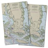 NC: Beaufort, NC Nautical Chart Hand Towel (Set of 2)