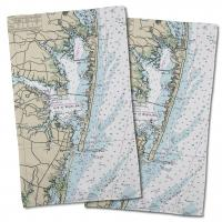 MD: Ocean City, MD Nautical Chart Hand Towel (Set of 2)
