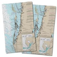 FL: Clearwater, FL Nautical Chart Hand Towel (Set of 2)