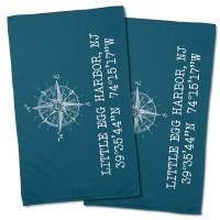 Little Egg Harbor, NJ Compass Rose Hand Towel - Turquoise (Set of 2)