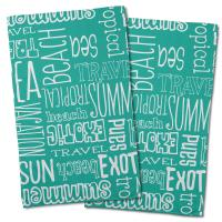 Beach Vacation Words Aqua Hand Towel (Set of 2)