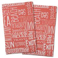 Beach Vacation Words Coral Hand Towel (Set of 2)