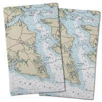 NC: Wades Point, NC Nautical Chart Hand Towel (Set of 2)