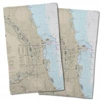IL: Chicago Harbor, IL Nautical Chart Hand Towel (Set of 2)
