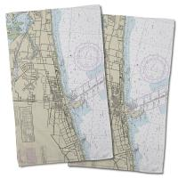 MS: Gulfport, MS Nautical Chart Hand Towel (Set of 2)