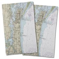 MS: Biloxi, MS Nautical Chart Hand Towel (Set of 2)