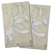 Great Lakes Nautical Chart Hand Towel (Set of 2)
