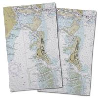 FL: Key Biscayne, FL Nautical Chart Hand Towel (Set of 2)