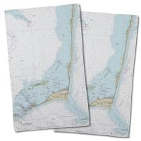 NC: Cape Hatteras, NC Nautical Chart Hand Towel (Set of 2)