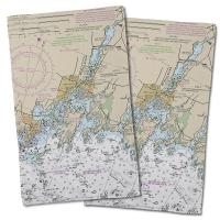 CT: Mystic, CT Nautical Chart Hand Towel (Set of 2)