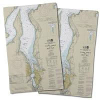 WA: Olympia, WA Nautical Chart Hand Towel (Set of 2)