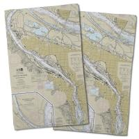 OR: Portland, OR Natutical Chart Hand Towel (Set of 2)