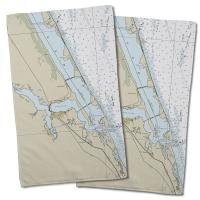 FL: Jensen Beach, Stuart, FL Nautical Chart Hand Towel (Set of 2)