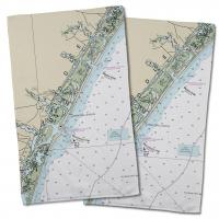NC: Wrightsville Beach, NC Nautical Chart Hand Towels (Set of 2)