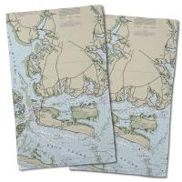 NC: Harkers Island, NC Nautical Chart Hand Towel (Set of 2)