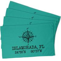 Custom Compass Rose Coordinates Hand Towel - Aqua (Set of 4)