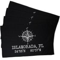 Custom Compass Rose Coordinates Hand Towel - Black (Set of 4)