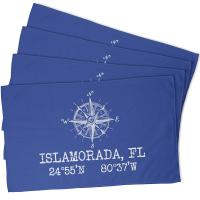 Custom Compass Rose Coordinates Hand Towel - Blue (Set of 4)