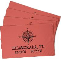 Custom Compass Rose Coordinates Hand Towel - Coral (Set of 4)