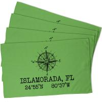 Custom Compass Rose Coordinates Hand Towel - Light Green (Set of 4)