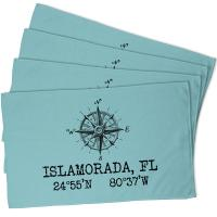 Custom Compass Rose Coordinates Hand Towel - Light Blue (Set of 4)