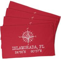 Custom Compass Rose Coordinates Hand Towel - Red (Set of 4)