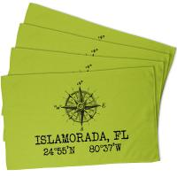 Custom Compass Rose Coordinates Hand Towel - Lime (Set of 4)