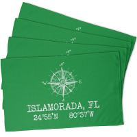 Custom Compass Rose Coordinates Hand Towel - Green (Set of 4)