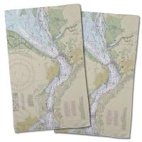 CA: Benicia, CA Nautical Chart Hand Towel (Set of 2)