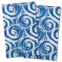 Swirls Blue Hand Towel (Set of 2)
