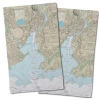 CT: New Haven Harbor, CT Nautical Chart Hand Towel (Set of 2)