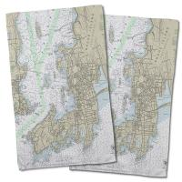 RI: Newport, RI Nautical Chart Hand Towel (Set of 2)