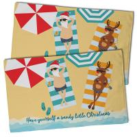 Beach Santa & Reindeer Christmas Hand Towel (Set of 2)