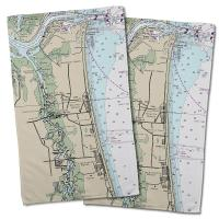 FL: Atlantic Beach, FL Nautical Chart Hand Towel (Set of 2)