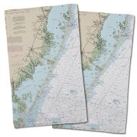 NJ: Long Beach Island, NJ Nautical Chart Hand Towel (Set of 2)